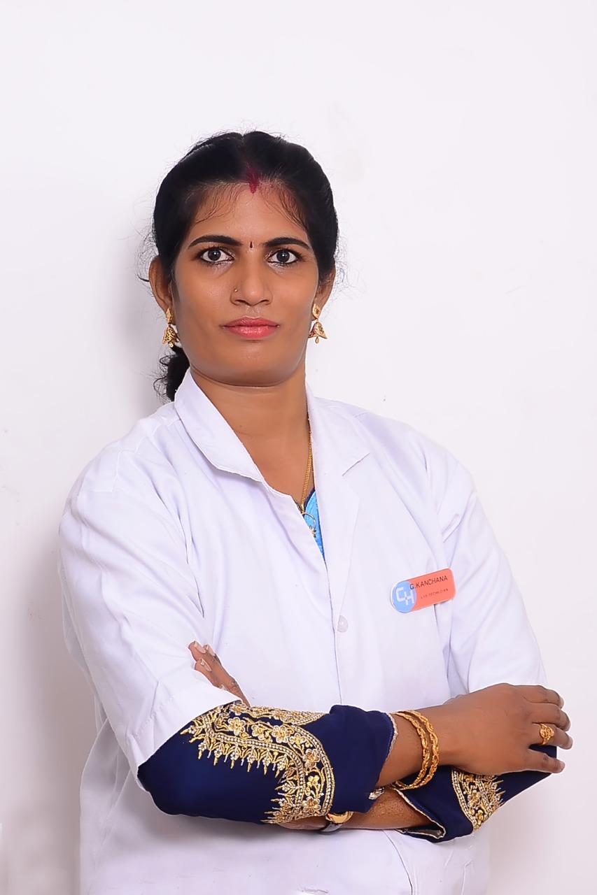 Female lab technician wearing two bangles